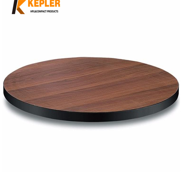 Kepler 12mm round compact hpl laminate wood grain table top panel supplier