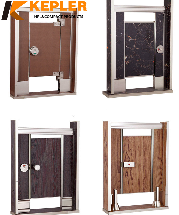 Kepler woodgrain color waterproof phenolic hpl urinal divider compact laminate public toilet cubicle partitions with accessories