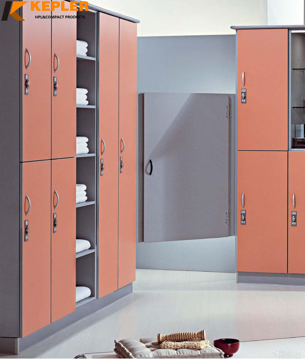 Kepler 12 mm thickness waterproof HPL storage locker cabinet for gym spa changing room with bench