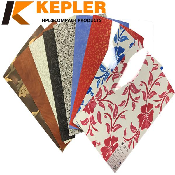 Kepler waterproof  0.6mm thickness T18 special surface treatment elm color high pressure laminate HPL sheets