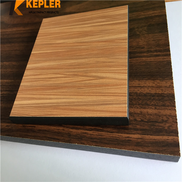 Kepler wood grain phenolic resin Hpl compact grade laminate shower room door partitions panel toilet cabins board manufacturer