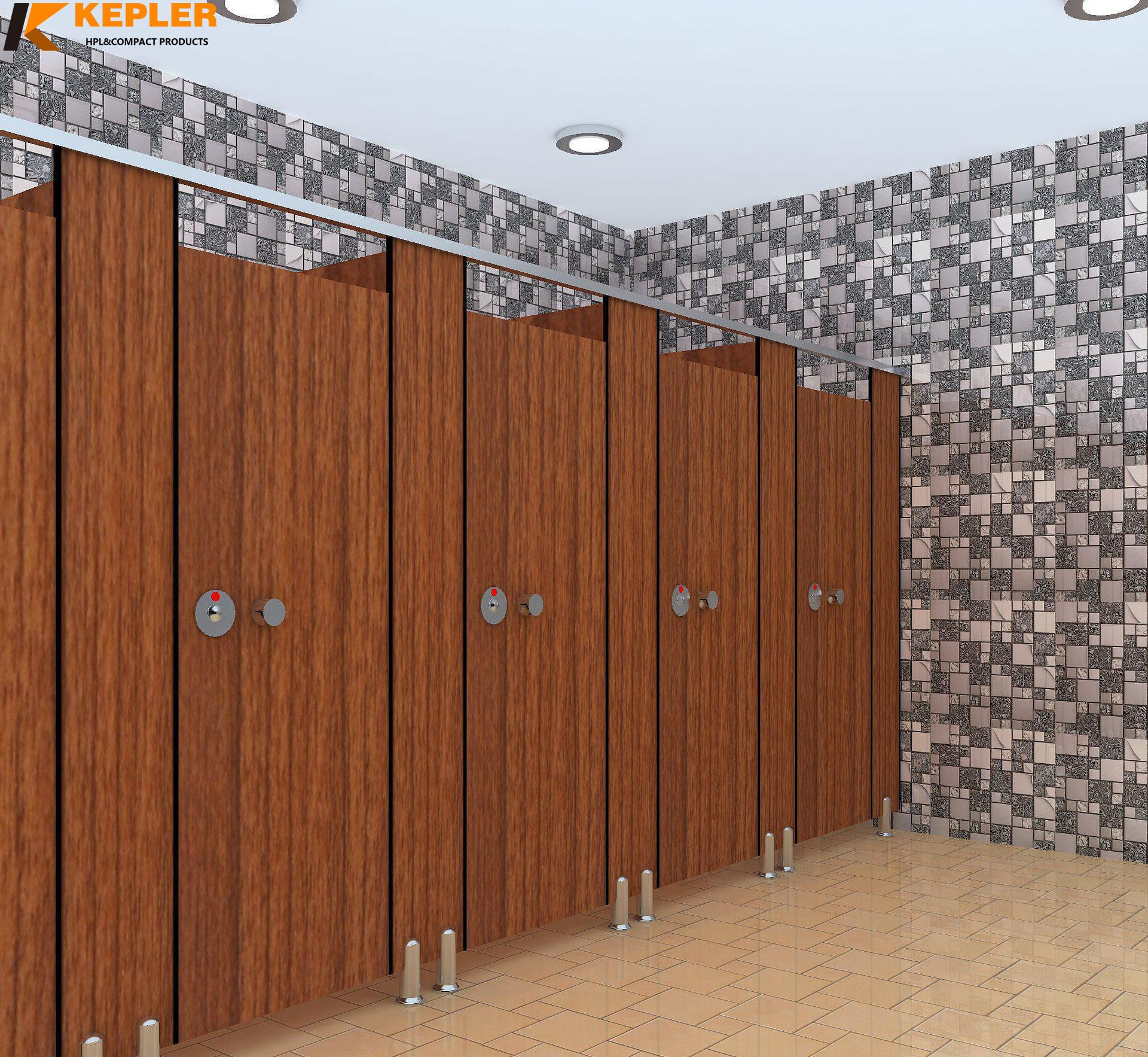 Kepler 12mm phenolic compact laminate hpl toilet cubicle partition panel with Nylon accessories