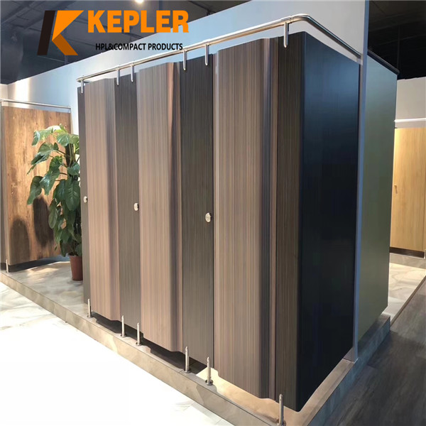 Kepler Waterproof Wood Grain Phenolic Compact Laminate Toilet and Shower Partition System