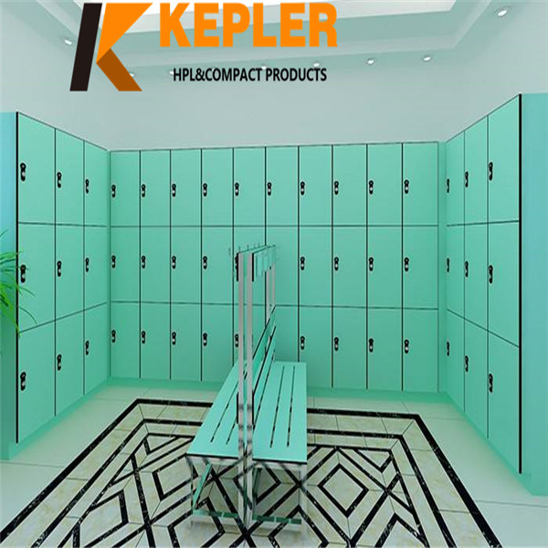 Kepler professional manufacturer of fitness room gym spa swimming pool compact laminate storage hpl locker and bench furniture