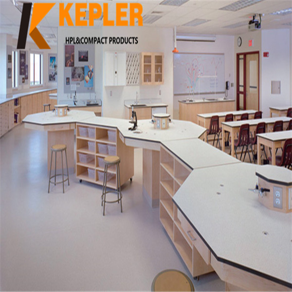Kepler chemical resistant hpl worktable top with low price school phenolic compact laminate lab top