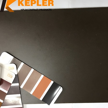 Kepler customize 3mm thickness matt one surface dark brawn another face wood grain phenolic compact laminate panel manufacturer