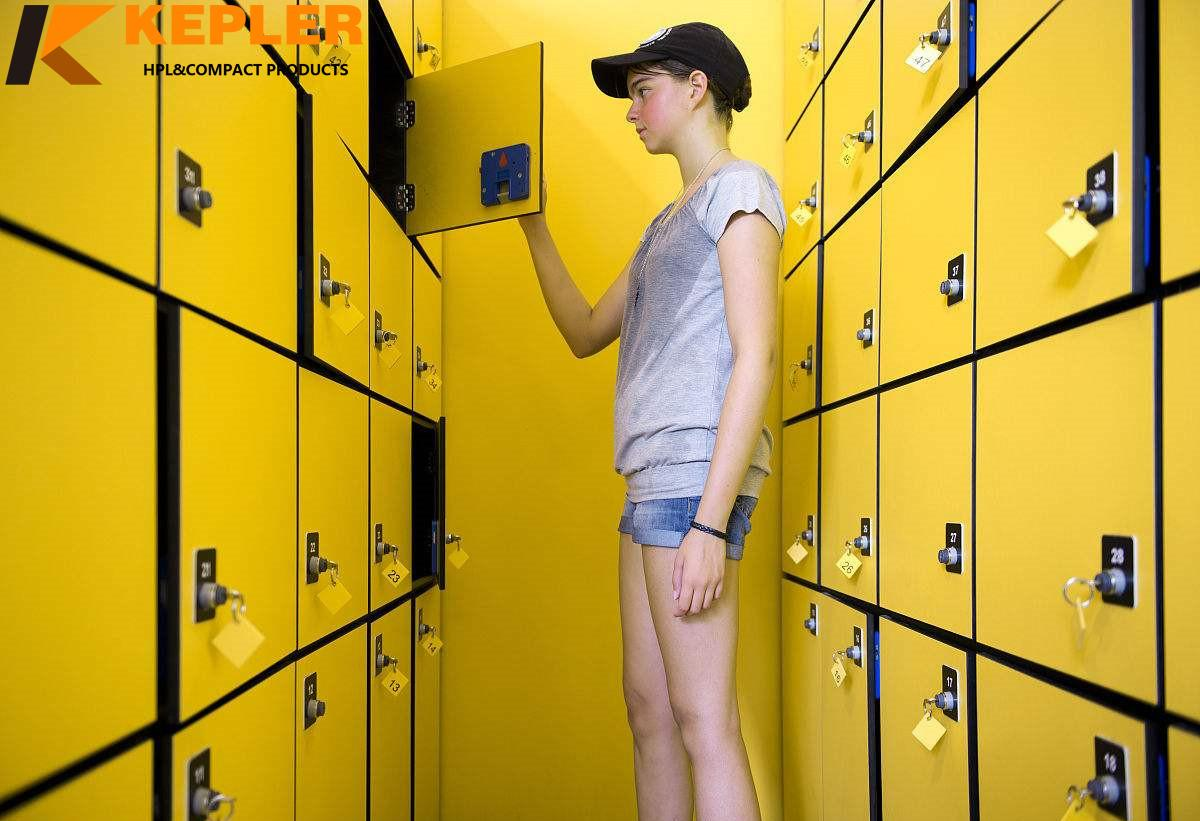 Kepler Waterproof Solid Matt Wood grain Phenolic HPL Compact Laminate Locker Cabinet for Sports Center and Gym