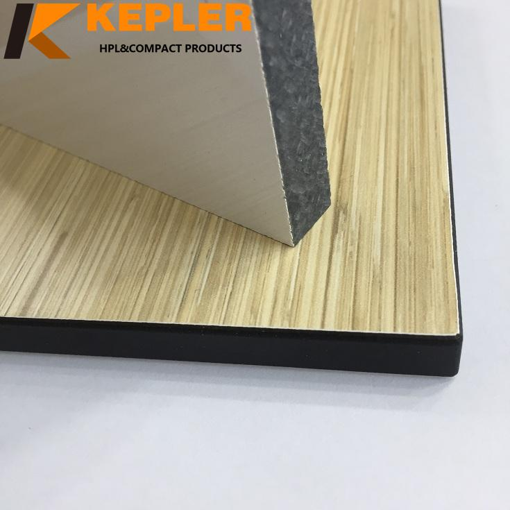 Kepler customize 15mm thickness one side glossy white another side matt wood grain phenolic compact laminate HPL board
