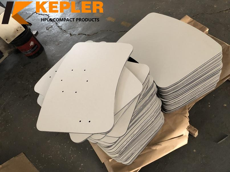 Kepler customize 12mm 13mm  18mm thickness different shapes indoor and outdoor compact hpl table top panels